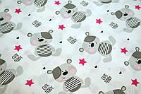 """Польская хлопковая ткань """"мишка тедди с малиновой звездой"""""""