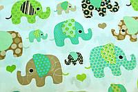 """Хлопок польский """"слоны зеленые, мятные, коричневые"""""""