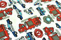 """Польская хлопковая ткань """"пожарные и полицейские машинки на белом"""""""