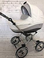 Универсальная коляска 2 в 1 Roan Emma E-43 белая кожа / серая ткань, фото 1