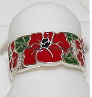 Кольцо Красный Мак с эмалью , фото 1