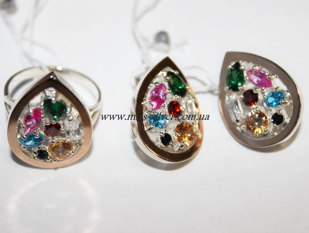 Комплект украшений с цветными камнями и золотом Мозаика самоцветов