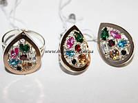 Комплект украшений с цветными фиантами и золотом Мозаика самоцветов