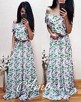 Платье в пол с открытыми плечами  u-t8032714