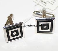 Запонки из серебра с черной эмалью Квадро