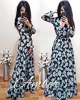 Шифоновое платье в пол с цветочным принтом в расцветках i-t8032715