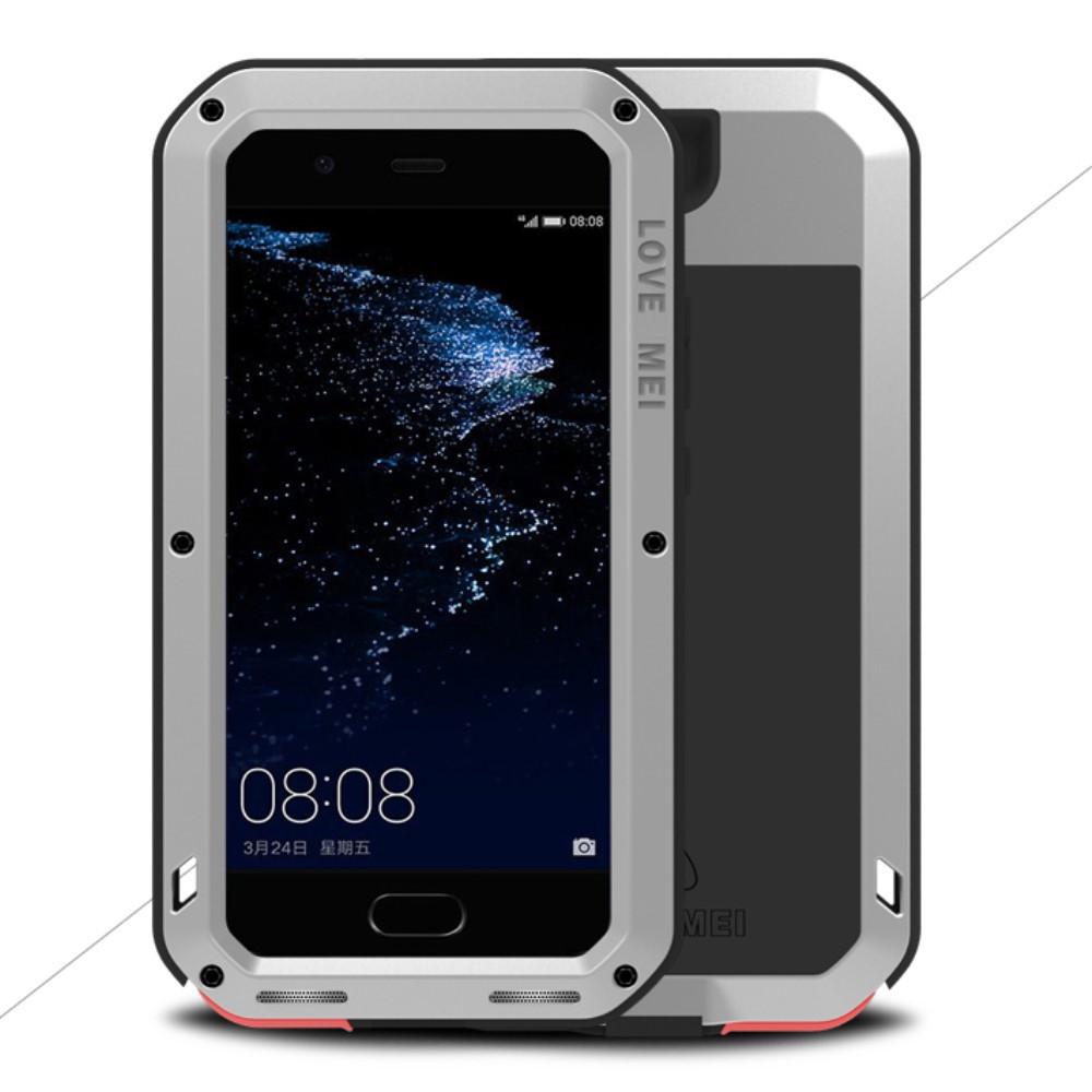 Чехол накладка для Huawei P10 Plus металлический противоударный с защитным стеклом, LOVE MEI, серебристый