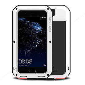 Чехол накладка для Huawei P10 Plus металлический противоударный с защитным стеклом, LOVE MEI, белый