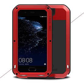 Чехол накладка для Huawei P10 Plus металлический противоударный с защитным стеклом, LOVE MEI, красный