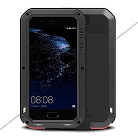 Чехол накладка для Huawei P10 Plus металлический противоударный с защитным стеклом, LOVE MEI, черный