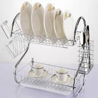 Сушилка для посуды 2 - х ярусная 43 на 24 на 38.5 см KuhMister KM 720003