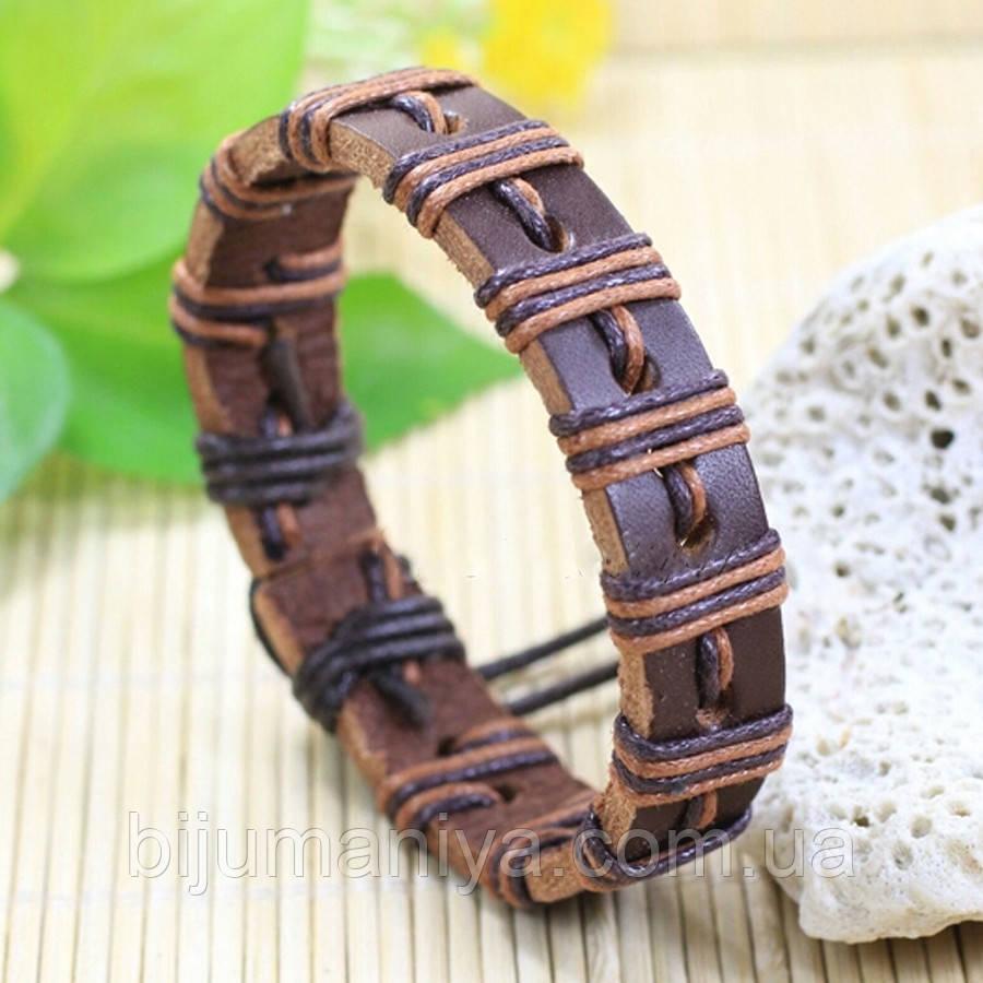 Браслет кожаный коричневый 61108