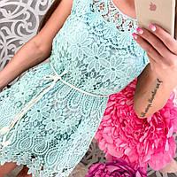 Женское стильное кружевное платье с поясом (3 цвета)