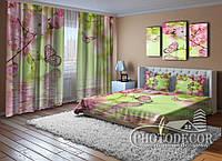 """Фото Комплект для спальни """"Сакура и бабочки над водой"""""""