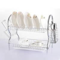 Сушилка для посуды 2- х ярусная 43 на 24 на 38.5 см KuhMister KM 720002