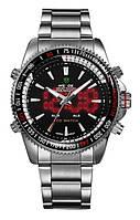 Мужские наручные часы Часы Weide Led Power Silver с подсветкой