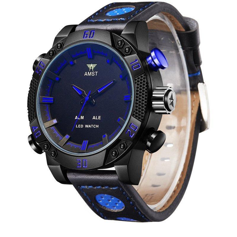 Часы мужские наручные AMST Shark+фирменная коробка в подарок black-blue