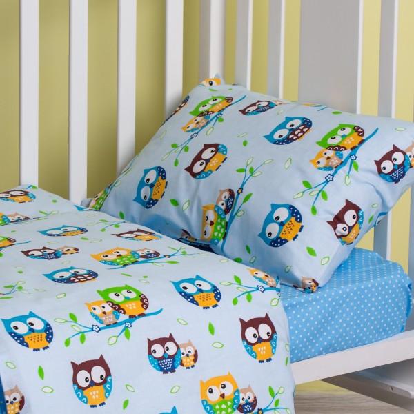 Детский комплект постельного белья SoundSleep 112х147 Fantastic Owls голубой