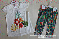 Летний костюм для девочки шифовая кофта и бриджи размер 2,3,4,5 лет