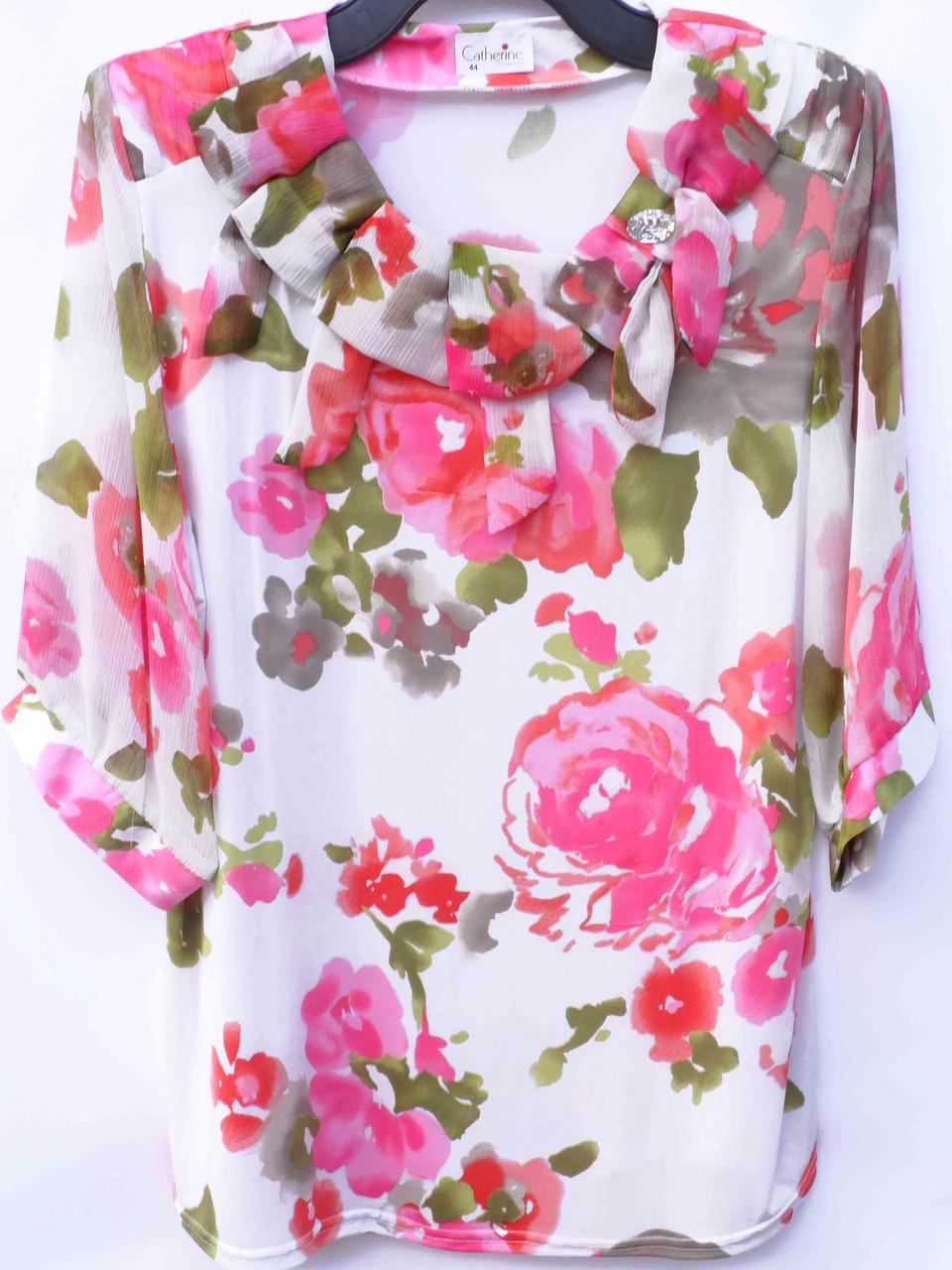 Цветастые блузки больших размеров (в расцветках 50-52)