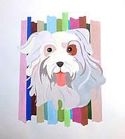 """Картина на бумаге акрилом """"Белая собака"""""""