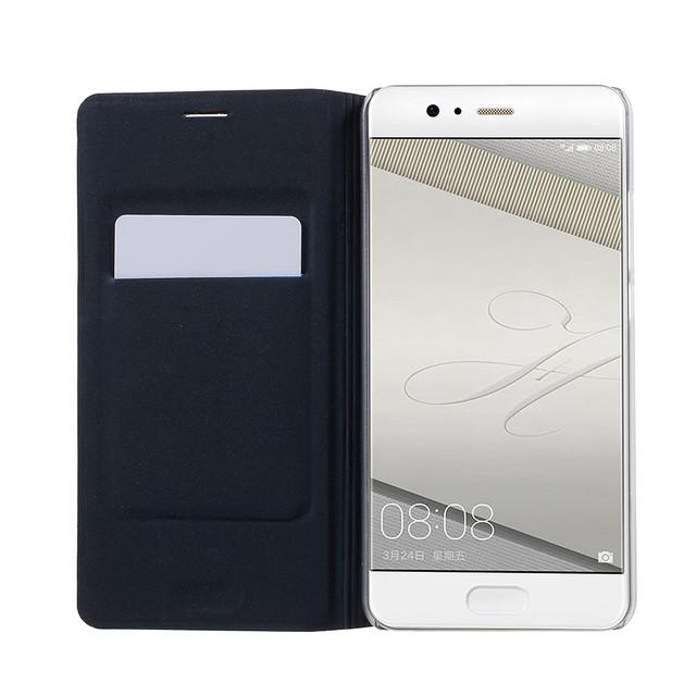 чехол книжка на Huawei P10 plus текстурированная кожа темно-синий