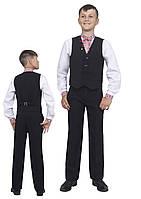 Жилет для мальчика школьный  М-864  рост 116-158 черный, синий, зеленый,бордовый, фото 1