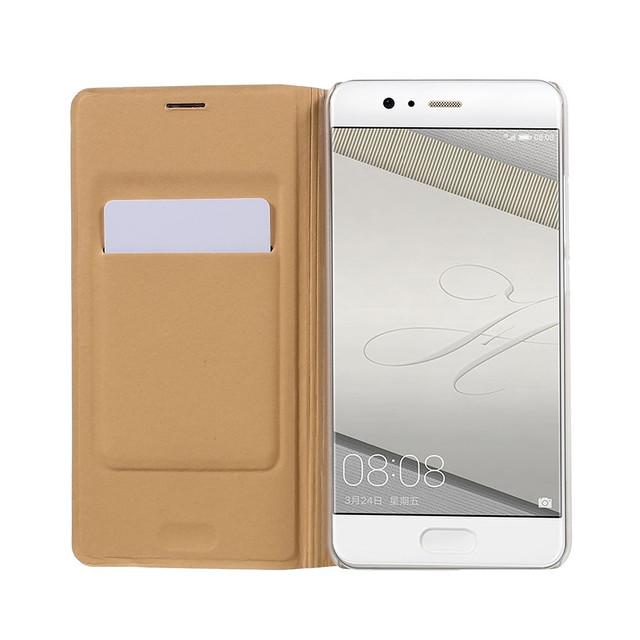 чехол книжка на Huawei P10 plus текстурированная кожа золотистый