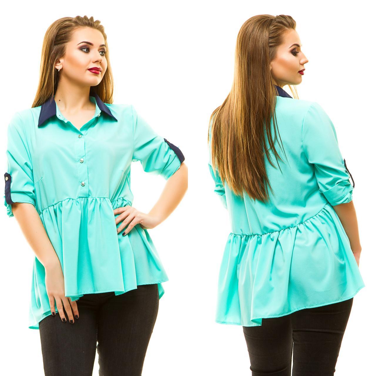 """Летняя женская блуза свободного кроя """"MiuMiu"""" с оборкой (большие размеры)"""