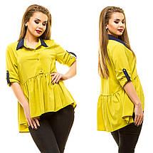 """Летняя женская блуза свободного кроя """"MiuMiu"""" с оборкой (большие размеры), фото 3"""