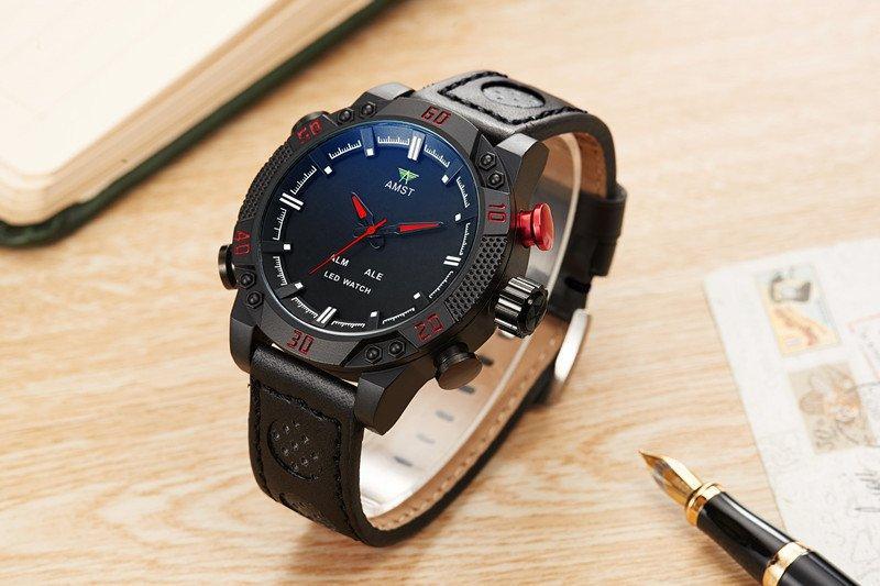 Часы мужские наручные AMST Shark+фирменная коробка в подарок black-black