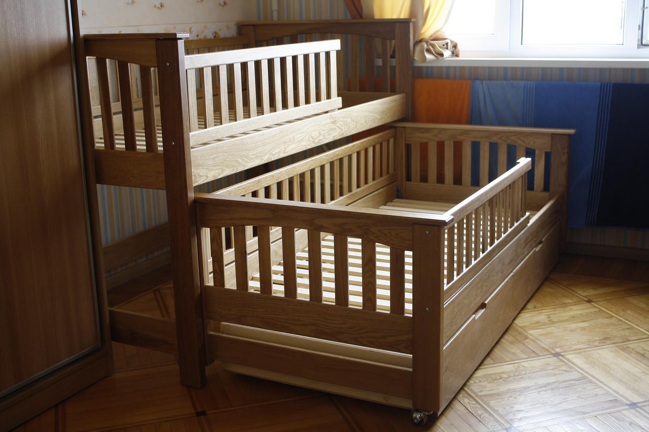 Двухярусная раздвижная кровать Женя, массив дуб, ясень