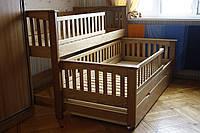Двухярусная раздвижная кровать Женя, массив дуб, ясень, фото 1