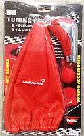 Тюнинг набор 2в1 красный (чехол кулисы КПП + ручка КПП), фото 1