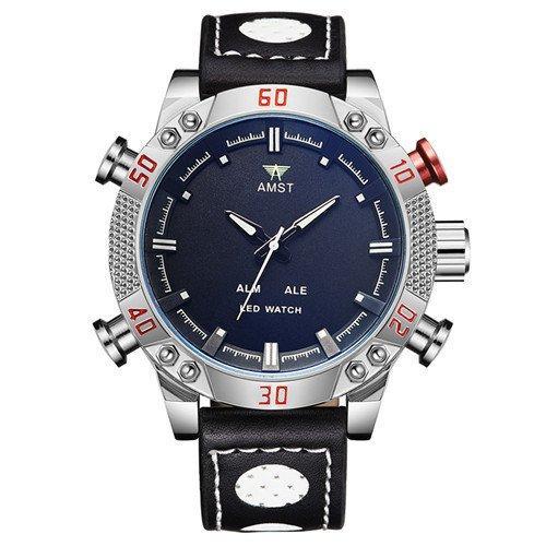 Часы мужские наручные AMST Shark+фирменная коробка в подарок black-silver-black