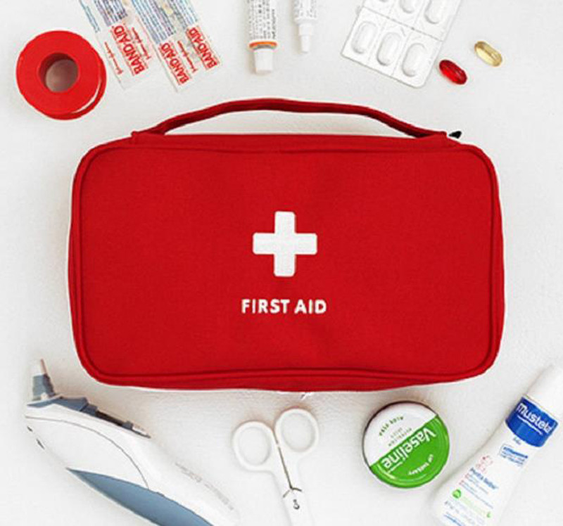 Органайзер аптечка для лекарств First Aid Pouch Large - аптечка для дома (цвет серый,красный)
