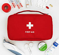 Органайзер аптечка для лекарств First Aid Pouch Large - аптечка для дома (цвет серый,красный), фото 1