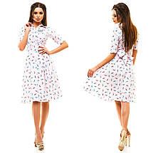 """Летнее хлопковое платье по колено """"Spring"""" с поясом и коротким рукавом (7 цветов), фото 2"""