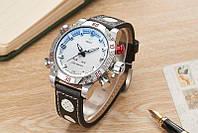 Часы мужские наручные AMST Shark+фирменная коробка в подарок black-silver-white