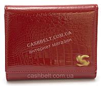 Компактный женский кожаный кошелек красного цвета лак под кожу рептилии art. B9035E