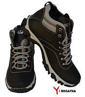 Мужские зимние кожаные ботинки, черные