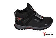 Мужские зимние кожаные ботинки, черные, прошитые