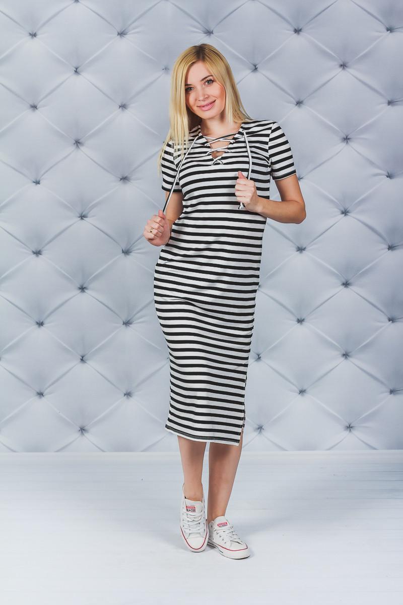 Платье летнее в полоску с разрезом