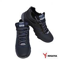 Мужские зимние кожаные ботинки,темно синие, прошитые, низкие
