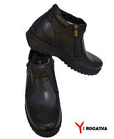 Мужские зимние кожаные ботинки, KONORS, черные, на две змейки