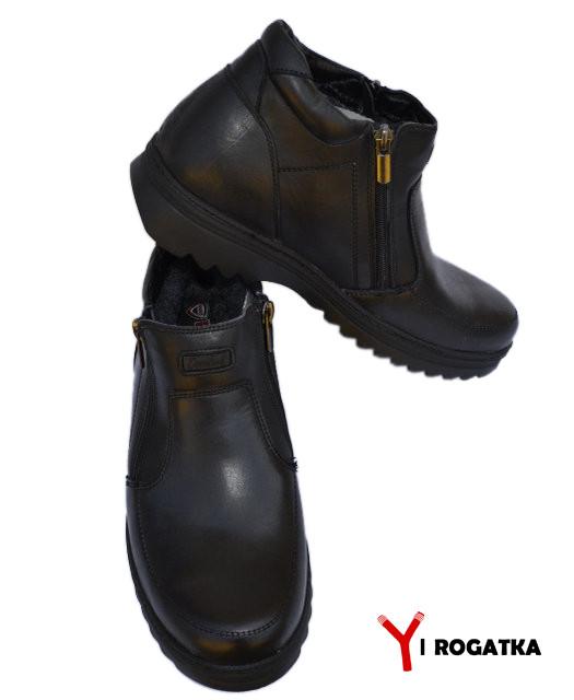 Мужские Зимние Кожаные Ботинки, KONORS, Черные, на Две Змейки 45 — в ... 8470bd24615