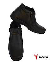 Мужские зимние кожаные ботинки, KONORS, черные, на две змейки, прошитые