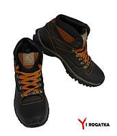 Мужские зимние кожаные ботинки, SPLINTER, черные, рыжие вставки