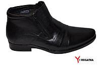 Мужские зимние кожаные ботинки, Cevivo, черные, две змейки