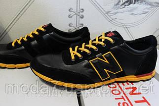 Мужские кожаные кроссовки New Balance(ч) реплика, фото 2